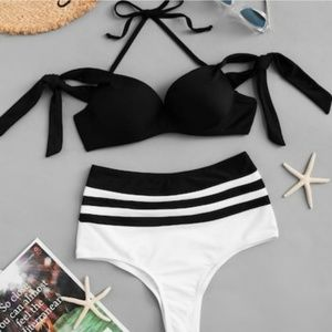 Halter Tie High Waist Bikini Set